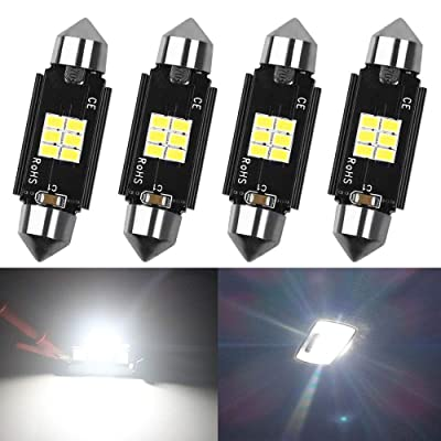 """AMAZENAR 4-Pack 1.72"""" 41MM 211-2 569 578 Extremely White 400 Lumens 3020 Chipset 6SMD Non-Polarity Canbus Error Free LED Festoon Bulbs for Interior Car Lights License Plate Dome Map Door Courtesy: Automotive"""