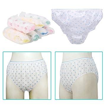 12a150c2fa42 Amazon.com: Disposable Panties, Womens Underwear Paper Cotton Briefs ...