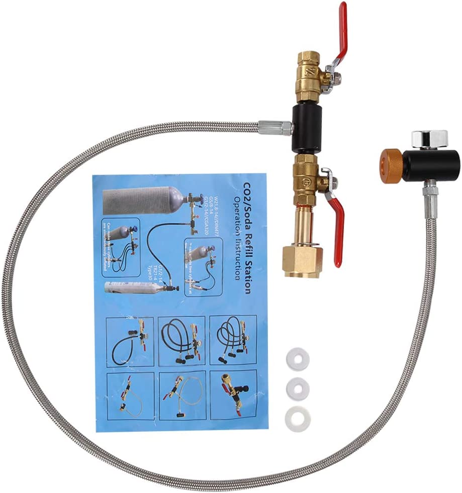 """G1/2 CO2 Cylinder Refill Adapter with Hose For Filling Sodastream Tank 36"""" with Gauge,2 turn on/off valves,durable to use"""