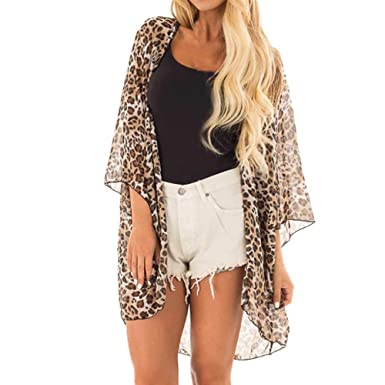 4a9d86f5a50ed Sumen Women Floral Kimono Cover Up Loose Chiffon Blouse Open Front Cardigan  (S, Brown