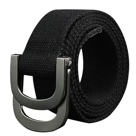 nueva estilos cbe5c aeeb6 Doitsa cinturón de Tela Hombre y Mujer Doble Hebilla cinturón Militar  (Talla Ajustable décontractée Mode Simple Durable cinturón de Deporte 110 *  3.8 ...