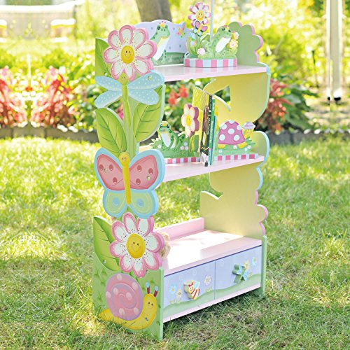 Fantasy Fields - Magic Garden Thematic Kids Wooden Bookcase with Storage | Imagination Inspiring Hand Crafted & Hand Painted Details   Non-Toxic, Lead Free Water-based Paint (Shelved Wall)
