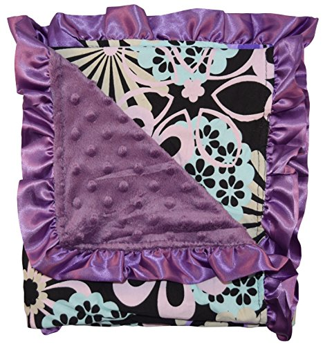 Unique Baby Soft Textured Minky Dot Blanket with Satin Trim, Floral Purple