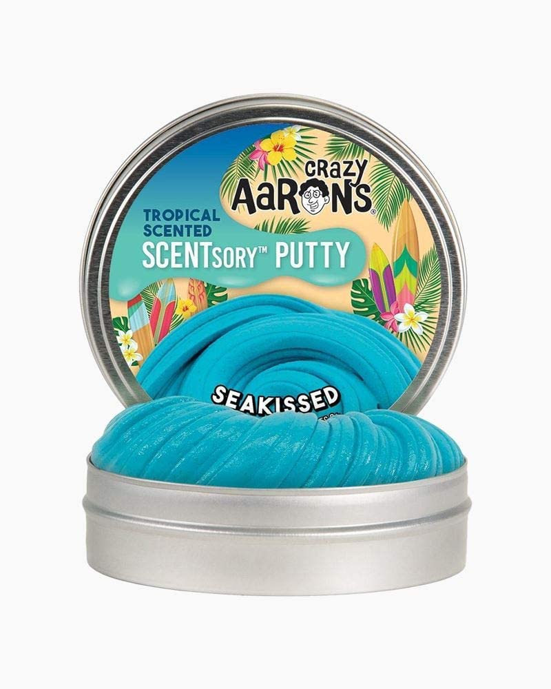 "Crazy Aaron's SCENTsory Scented Thinking Putty, Seakissed, 2.75"" Tin - Tropical Beach Scented Turquoise Putty - Fluffy Texture, Never Dries Out"