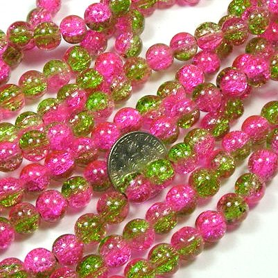 Beading Station 50-Piece 2-Tone Crackle Glass Round Beads, 8mm, Pink and - Tone Glass Pink