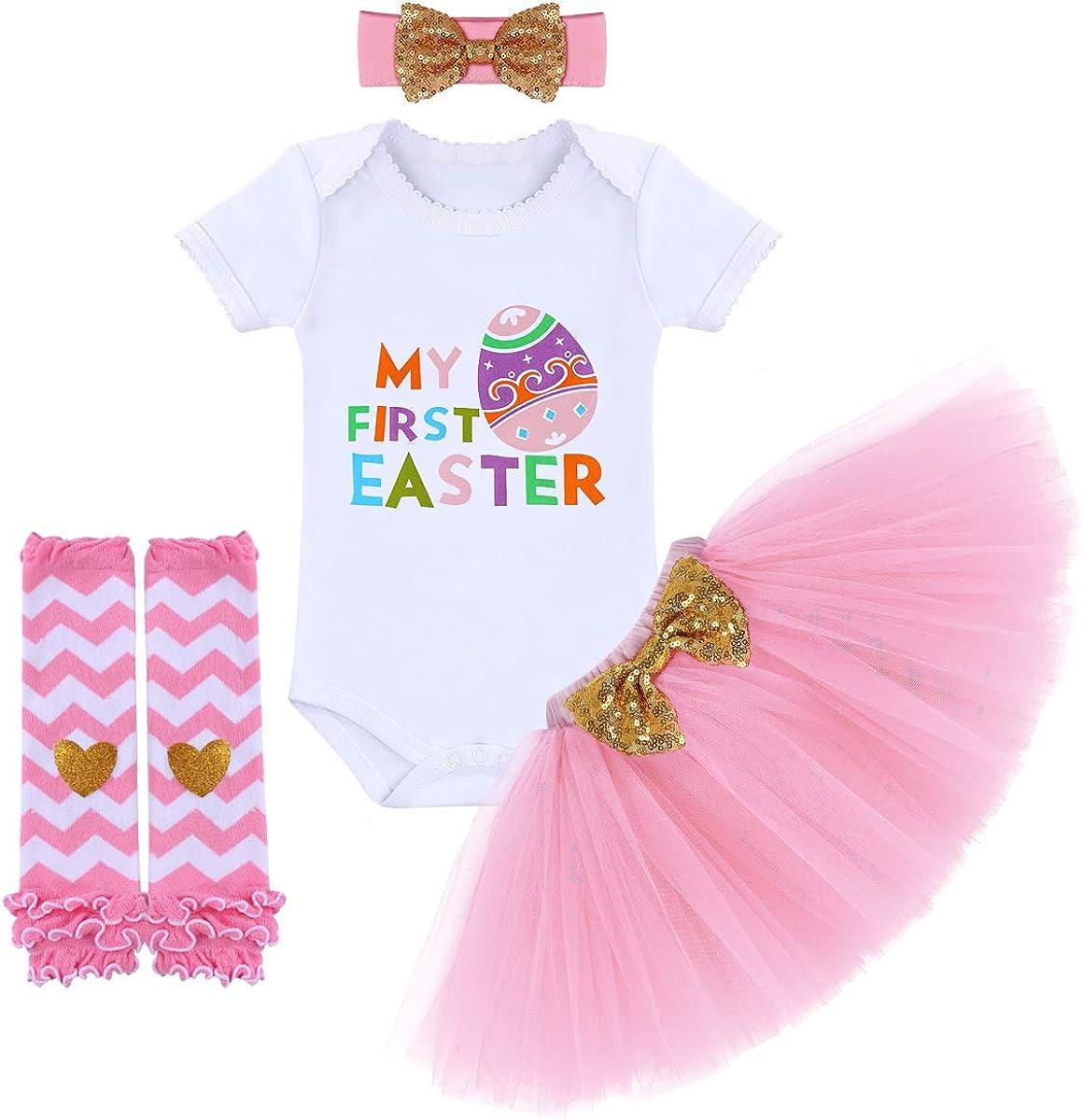 HOSUKKO Baby Girl Half//1st//2nd Birthday Outfit,Onesie+Tutu+Tight+Crown+Headband