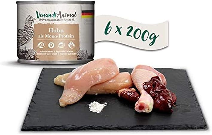 Venandi Animal - Pienso Premium para Gatos - Pollo como monoproteína - Completamente Libre de Cereales - 6 x 200 g