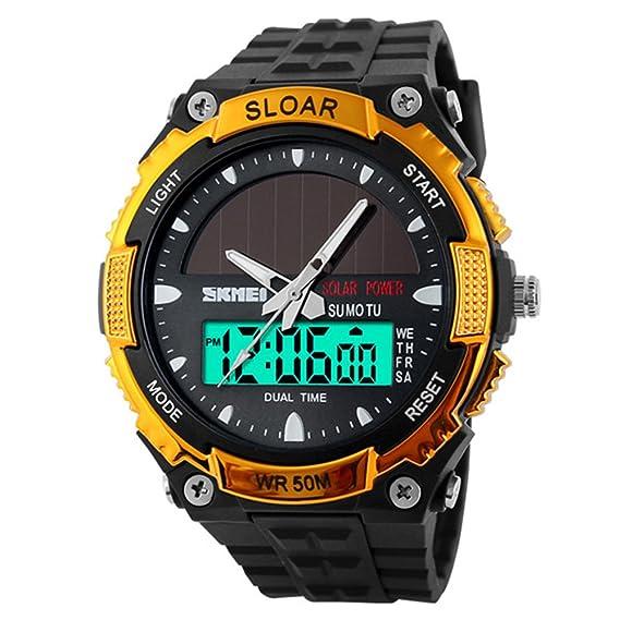 amstt Hombre Solar Reloj de pulsera niño Militar Relojes 5 ATM de agua Outdoor denso –