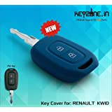 Keyzone Silicone Key Cover For Renault Kwid / Duster 2016 Onwards Remote Key (Blue) (1)