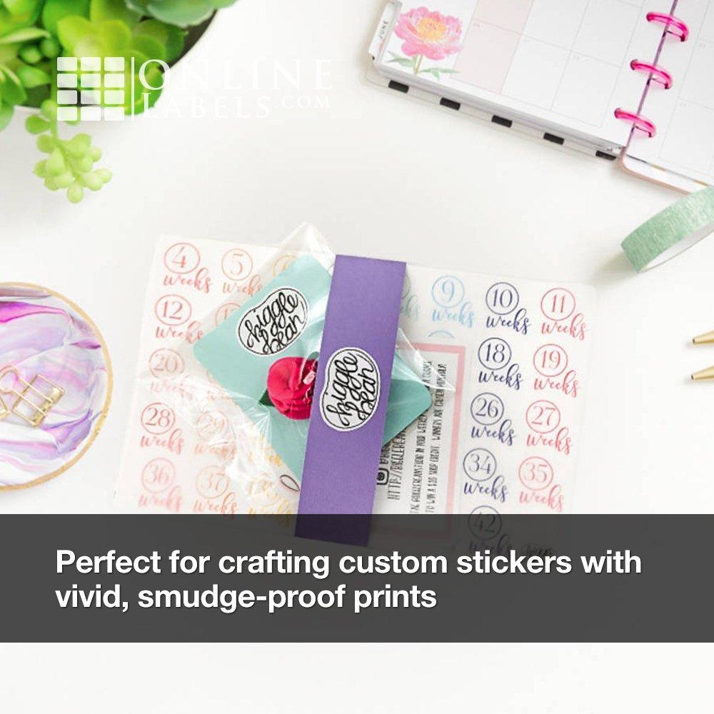 Waterproof Sticker Paper (100 Sheets), Blank White Matte Full Sheet Label - INKJET ONLY - 8.5'' X 11''- Online Labels