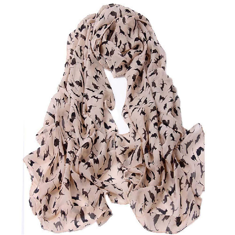 PoeHXtyy 1 pezzo di sciarpe lunghe donne gatto stampato fiore morbido sciarpa elegante scialle rubato