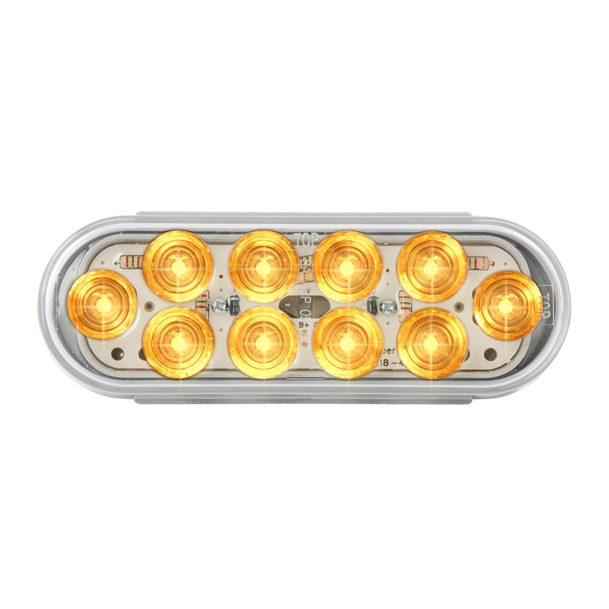 GG Grand General 77445 Mega 10 Oval Amber//Clear Led with Grommet /& Pigtail