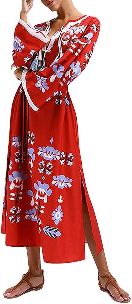 ZFK/_DRESS Womens Bohemian Kimono Long Bell Sleeve Loose Tassel Cover Ups Kaftan Maxi Dress