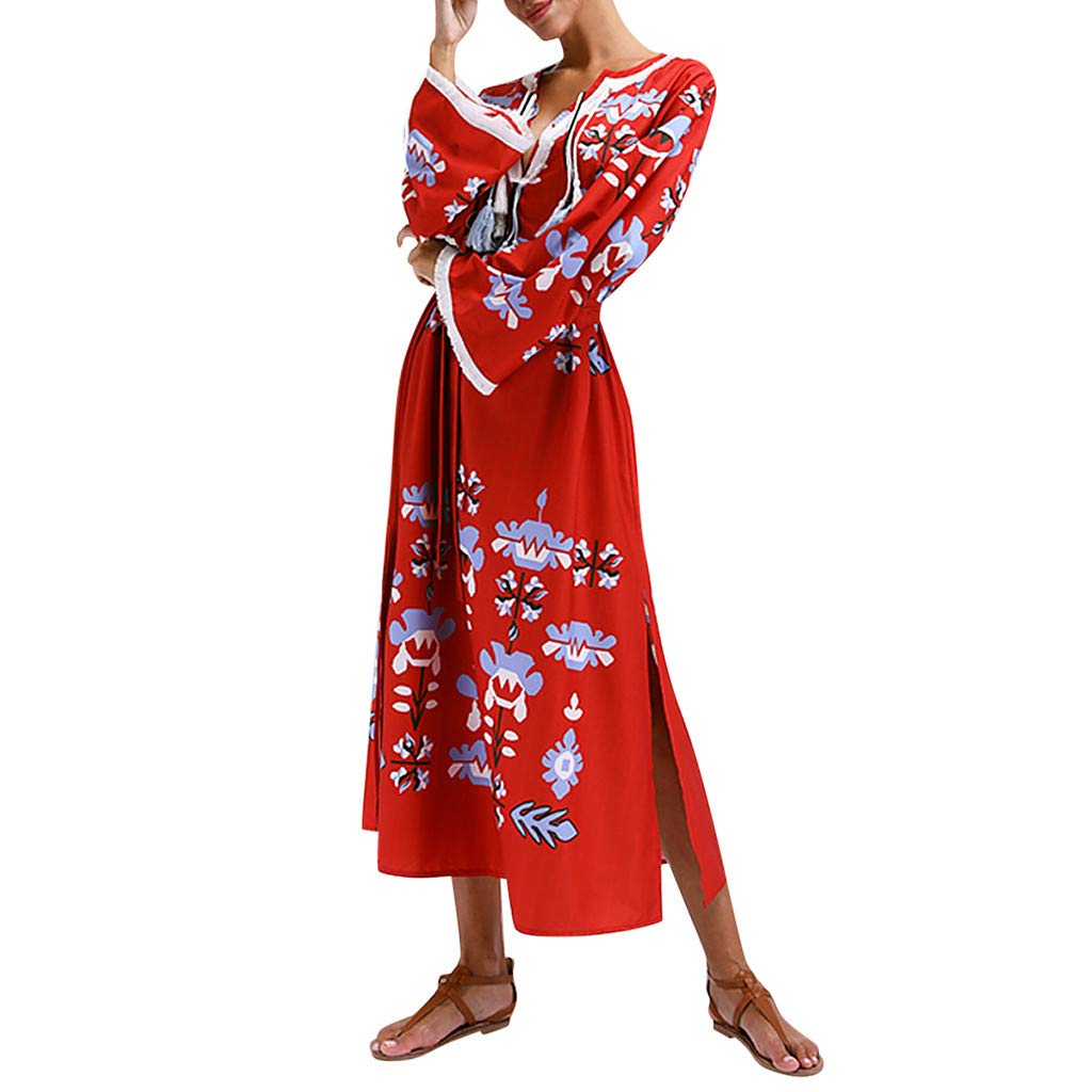 peacur Women Long Sleeve Dresses Summer Sexy V-Neck Loose Bohemian Style Printed Maxi Dress Red