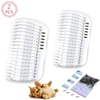 2 Pcs/Set Cat Self Groomer Brush Catnip-Wall Corner Mounted Massage Grooming Comb-Helps Prevent Hairballs and Controls Coming-Safe fortable with Catnip (White)