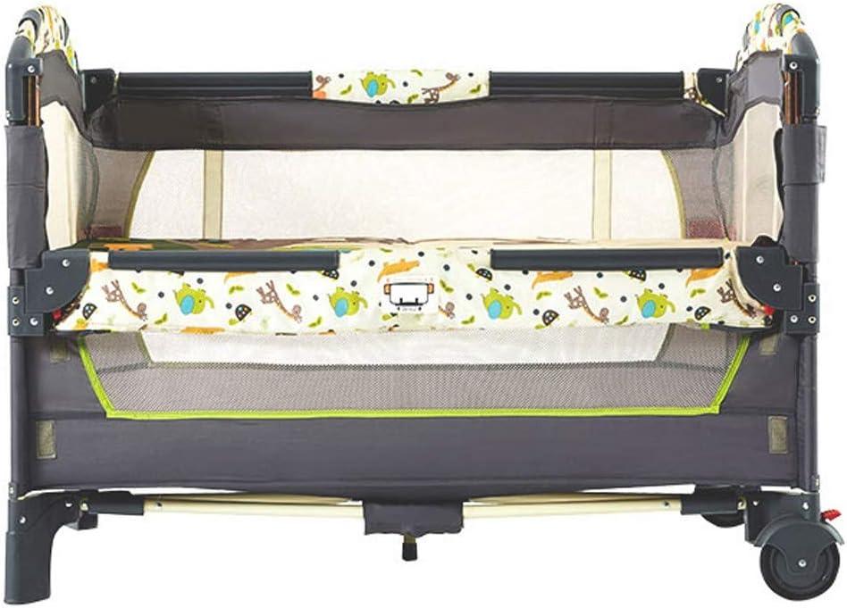 ベビーロッキングチェア 新生児への新生児バシネット 取り外し可能なマットレス付きキッズベビーベッド 高さ角度調整可能 両面通気性メッシュ ポータブルプレイガラウンドベッド ファミリーゲーム ベッド (Color : Gray1)