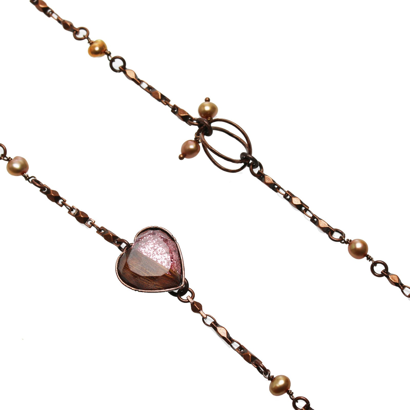 Tamarusan Glasses Chain Strap Pink Lame Heart Antique Finished Freshwater Pearl Original Resin