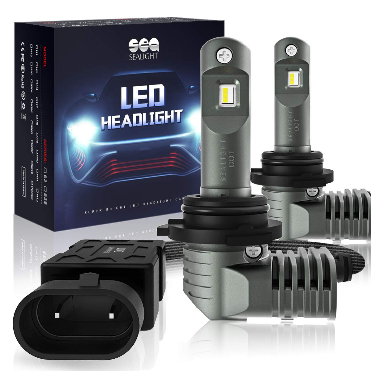 H11//H8//H9 LED Headlight Bulbs Low Beam//Fog Light with Fan SEALIGHT S2 Series Mini Design Upgraded CSP Chips 6000K Xenon white IP67-3 Yr Warranty 2 Pack