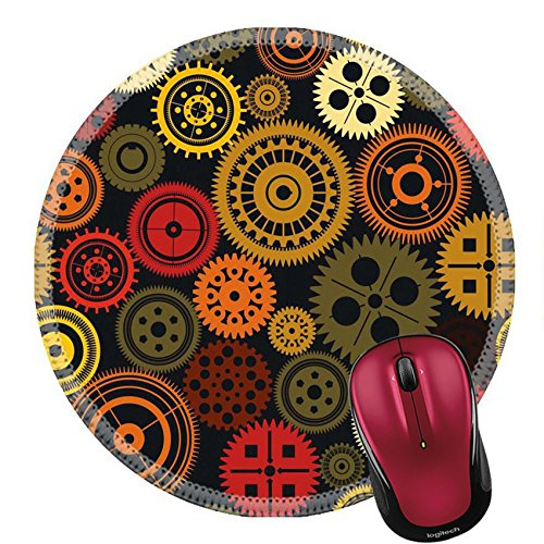 Liili Round Mouse Pad Natural Rubber Mousepad IMAGE ID: 19566050 Seamless vector gear and cogwheel retro color background