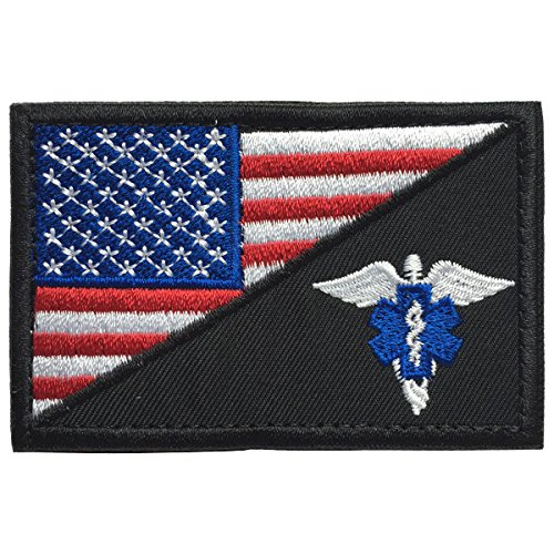 SpaceCar USA Flag w/Star of Life w/Wings Paramedic Medic EMT EMS Tactical Morale Badge Patch 3