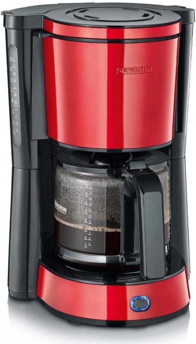SEVERIN KA 4817 Type Kaffeemaschine rot lackierter edelstahl F/ür gemahlenen Filterkaffee, 10 Tassen, Inkl. Glaskanne