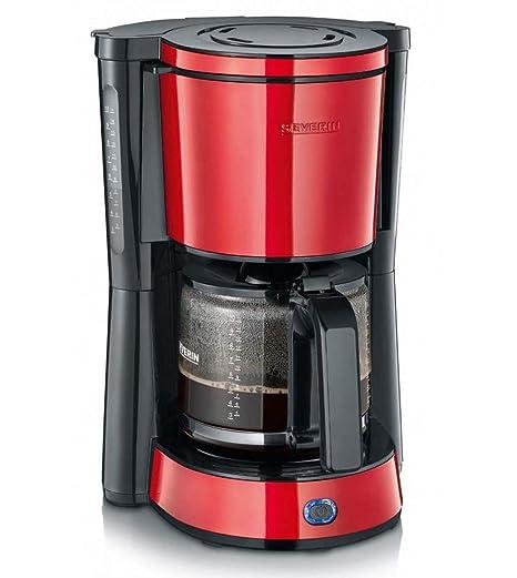 Severin KA 4817 Cafetera de goteo TYPE, 1000 W, hasta 10 tazas, filtro 1 x 4, 1.25 litros, Rojo
