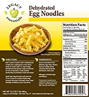 Legacy Essentials Dehydrated Egg Noodles: Bulk, Long Shelf Life Emergency Survival Pasta - Great for Ingredients, Food Storage Supply, More