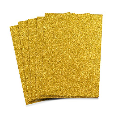 Rozzy Crafts - Yellow Gold Glitter Heat Transfer Vinyl (HTV) - 5 Sheets Each 12 inches by 10 inches - Works with Cricut, Silhouette, and All Other Cutting Machines