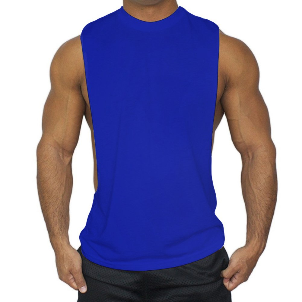 ZUEVI Men's Muscular Cut Open Sides Bodybuilding Tank Top(Blue-M-S)