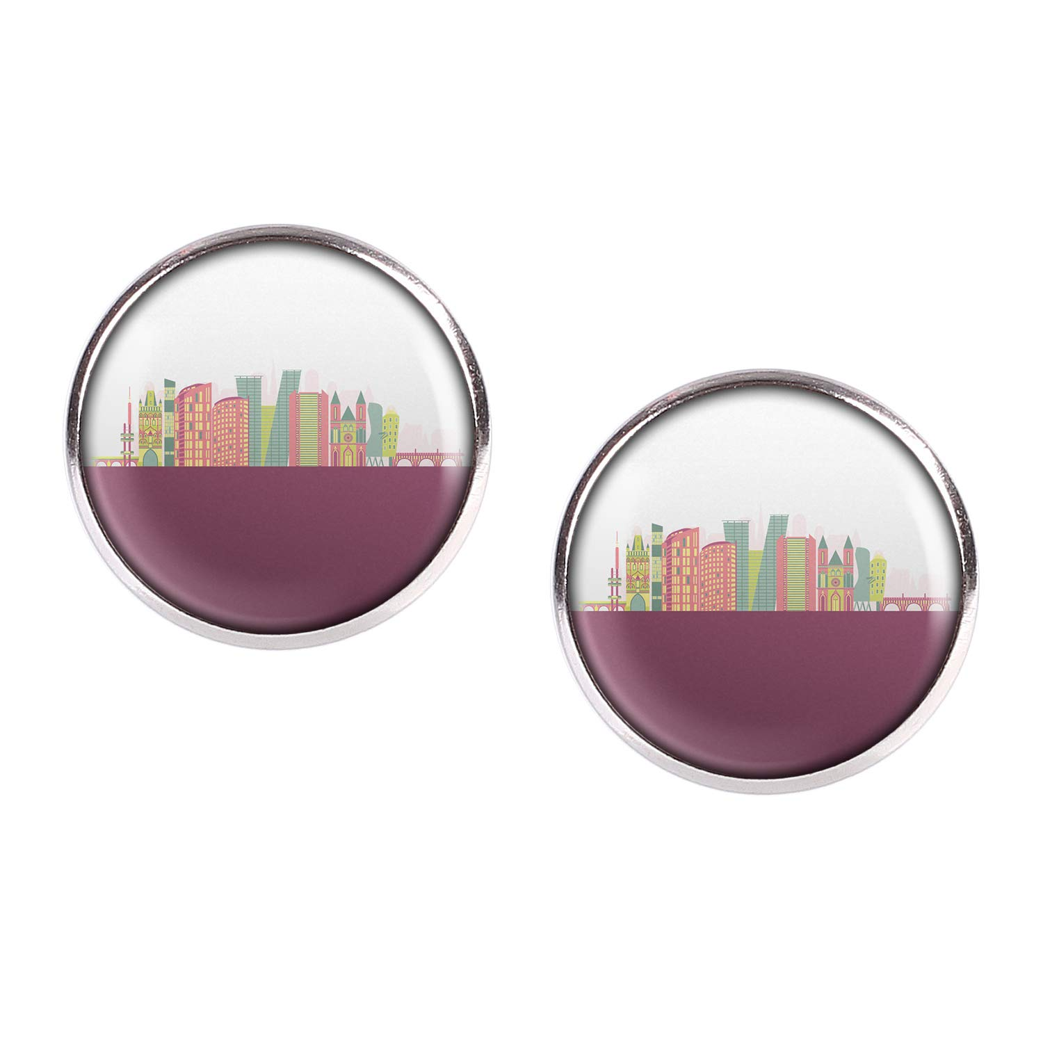 Stud Earring Pair with Cabochon Picture Skyline Prague Prague Czech Republic Czech Republic silver different sizes