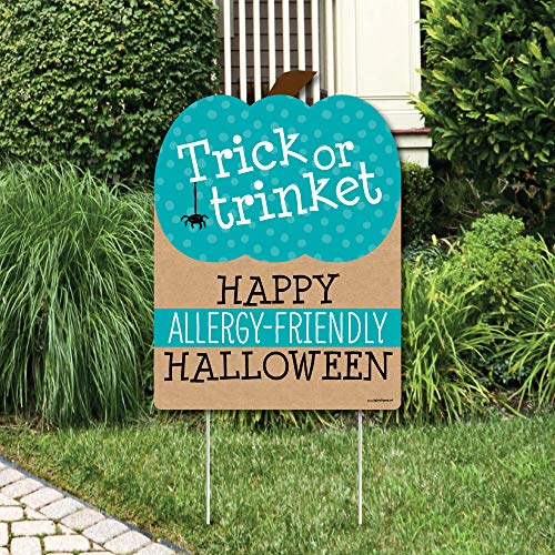 Big Dot of Happiness Teal Pumpkin - Halloween Allergy Friendly Trick or Trinket Welcome Yard Sign]()