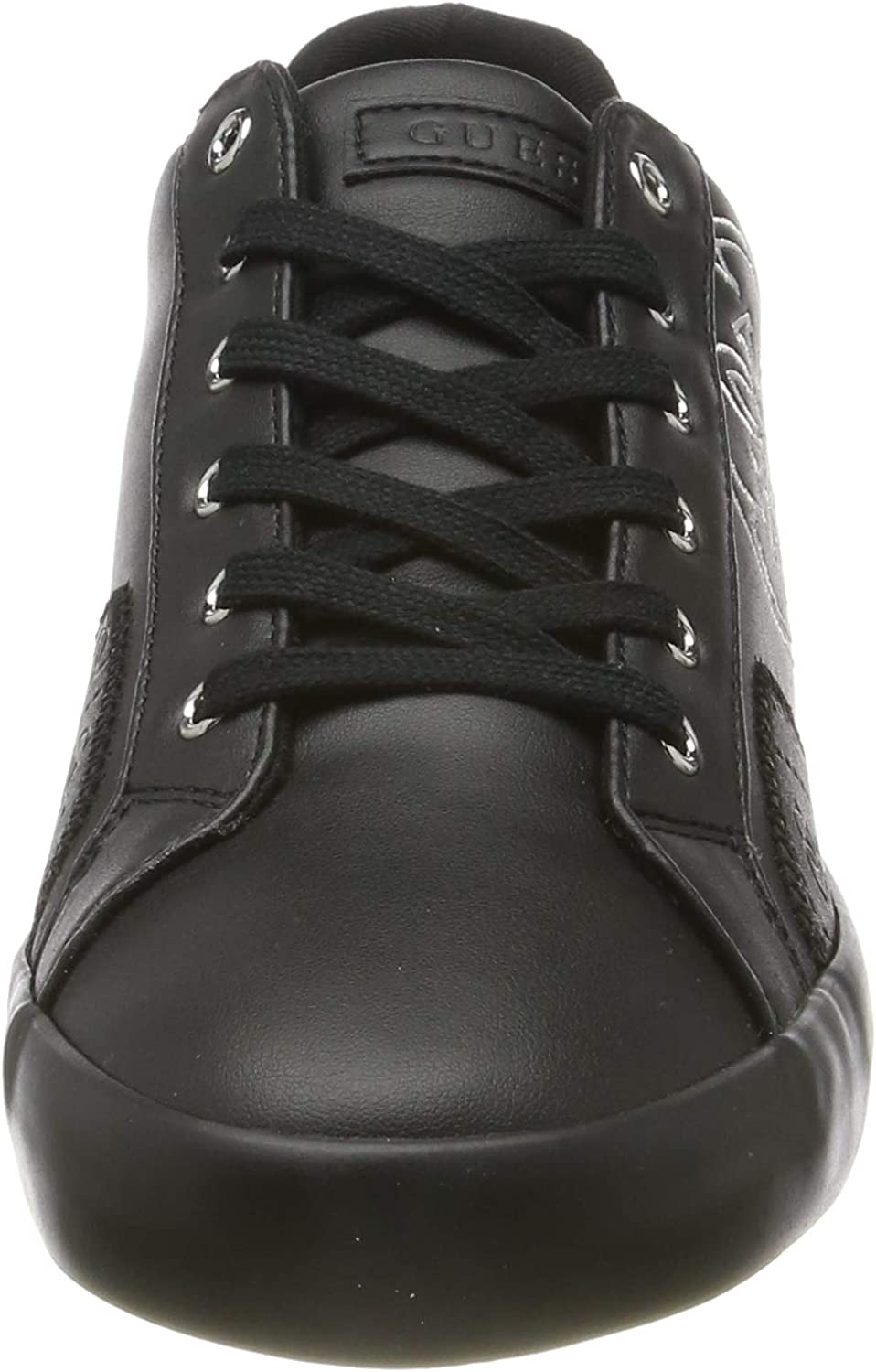 Guess Pica/Active Lady/Leather Like, Zapatillas de Gimnasia para Mujer Negro Black Black Bl