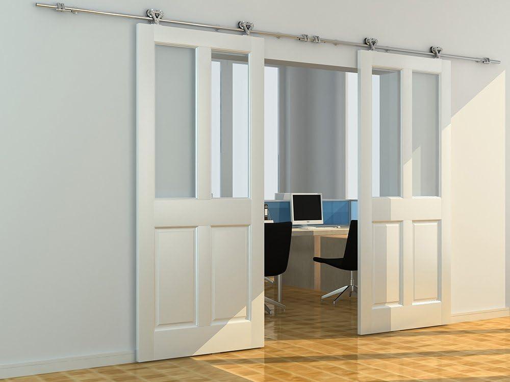 12ft-kit de doble puerta,DIYHD montaje superior puertas correderas acero inoxidable 304 puerta corredera de la puerta: Amazon.es: Hogar