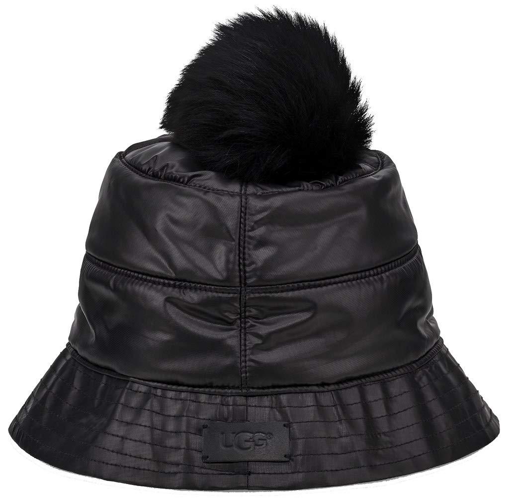 UGG Womens All Weather Bucket Hat W/Pom, Black, Size Small/Medium by UGG