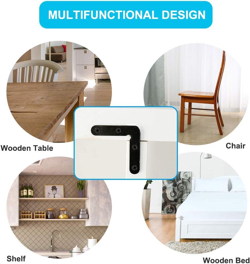 soportes de esquina con tornillos para muebles sujetador de /ángulo recto Sourcingmap soporte de /ángulo plano de metal negro para esquina