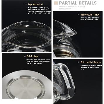 TOYO HOFU Tetera de vidrio transparente con infusor desmontable -800ml: Amazon.es: Hogar