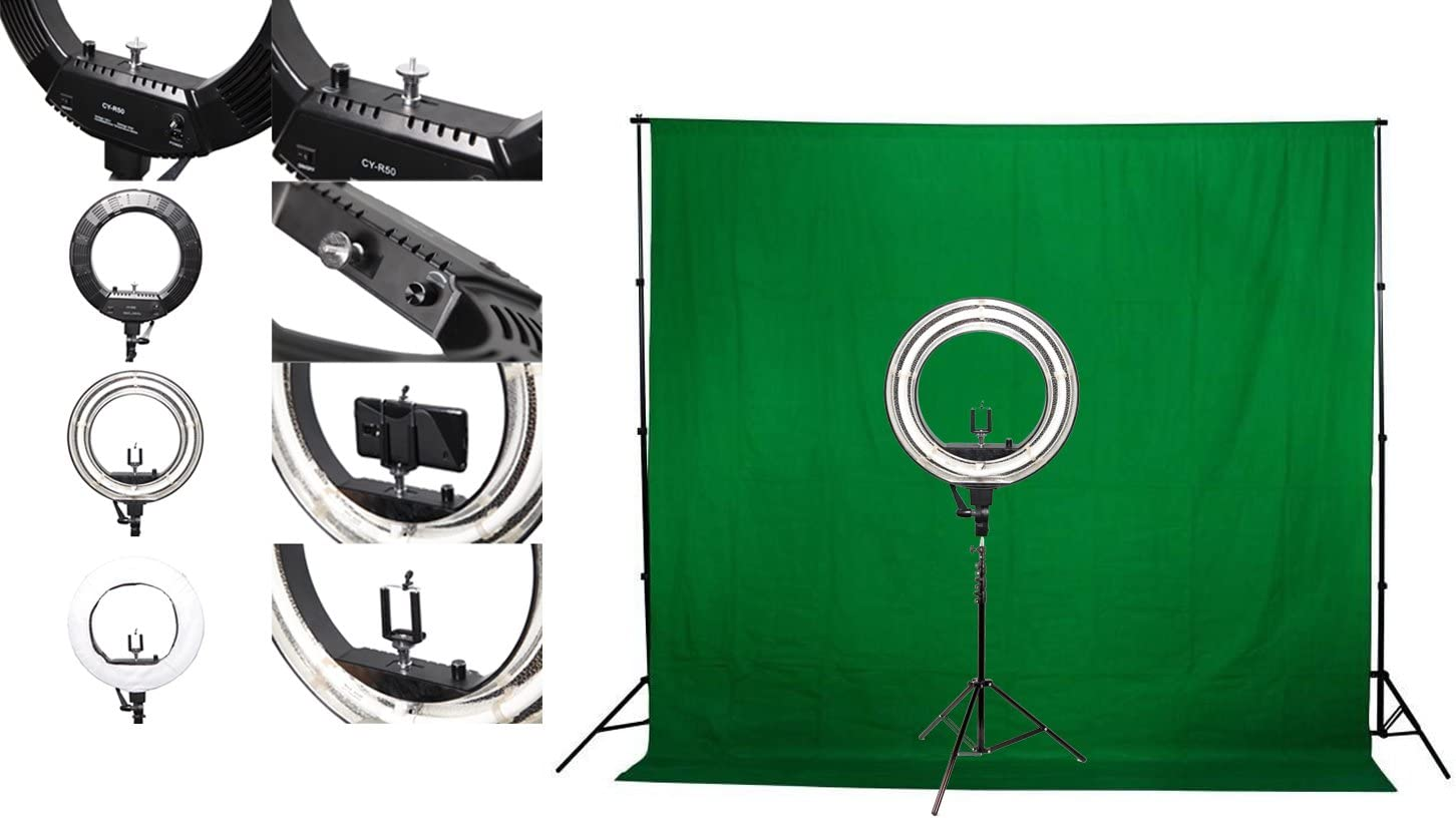 Green Screen Kit /& Stand Fodoto 18 inch Diva Ring Light