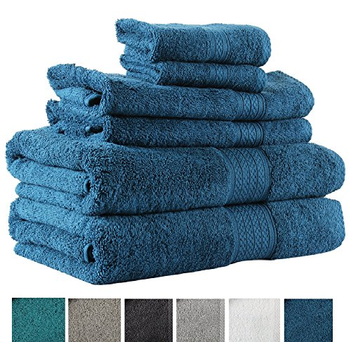 Avira Home 100  Cotton Extra Large Bath Towels Set  6 Piece Towel Set  2 Bath Towel  2 Hand Towel  2 Face Towels  600 Gsm  Machine Washable  Highly Absorbent
