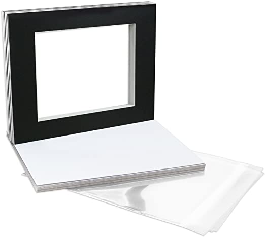 Bags Golden State Art Pack of 10 White 8x10 Picture Mats Mattes with White Core Bevel Cut for 5x7 Photo Backing