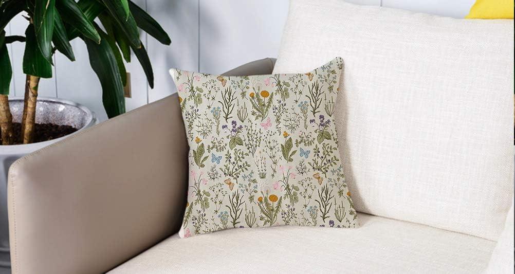 decoración Cuadrada, Puesto de flores, plantas de jardín vintage con diseño clásico botánico de flores de hierbas, naranja y beig,Funda de almohada Almohada para coche Almohada para sofá casero