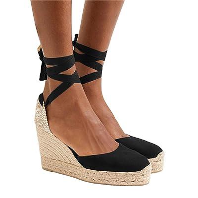 Kathemoi Womens Espadrille Wedge Sandals Lace Up Closed Toe Slingback High Heel Platform Sandals | Shoes