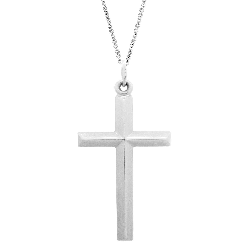 Ritastephens Sterling Silver Shiny Polished Edged Italian Cross Charm Pendant Necklace