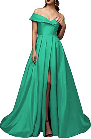 Image Unavailable. Image not available for. Color  Ri Yun Womens Off The  Shoulder Prom Dresses Long Slit 2019 Satin A-Line Evening 2845d89cc