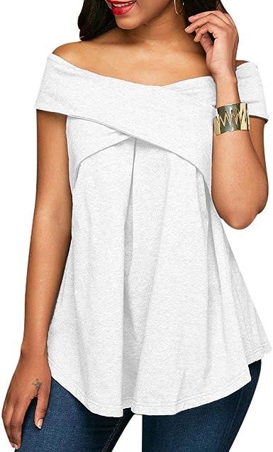 Mujer Camisetas Verano del Fuera Volantes Blusas Hombro Fashion Mode De Marca Vintage Ocasional Colores Sólidos Shirts Elegante Hipster Trompeta Manga Sling Splice Encaje Estilo Moderno Camisas Tops: Amazon.es: Ropa y accesorios