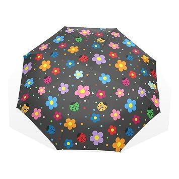 GUKENQ Ladybugs - Paraguas de Viaje, Ligero, antirayos UV, para Hombre, Mujer