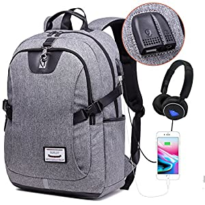 Business Computer Bag Travel Laptop Backpack with USB Charging Port and Headphone Interface, Waterproof Polyester School Bookbag Anti Theft Casual Backpack for 17 Inch Laptop and Notebook (Grey)