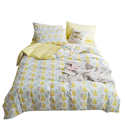 c3f8523401 VClife Cotton Duvet Cover Sets Queen Bedding Sets Yellow White Luxury Soft  Geometric Triangle Pattern 1