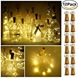 (US) Decem Wine Bottle Lights with Cork 12 Pcs 15 LEDs Warm White Cork Shape Silver Copper Wire Battery Powered LED Fairy String Lights for DIY/Decor/Party/Wedding/Christmas/Halloween (Warm White)