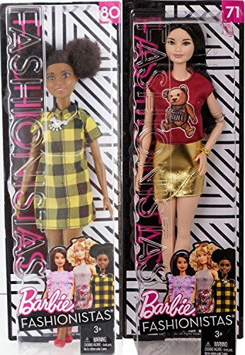 Fashionistas Barbie Doll 2 Pack Barbie Cheerful Check Fashion Doll #80 + Barbie to Tie Dye for Fashion Doll #77 with Sunglasses Fashion Original with Accessory - Glasses Curly
