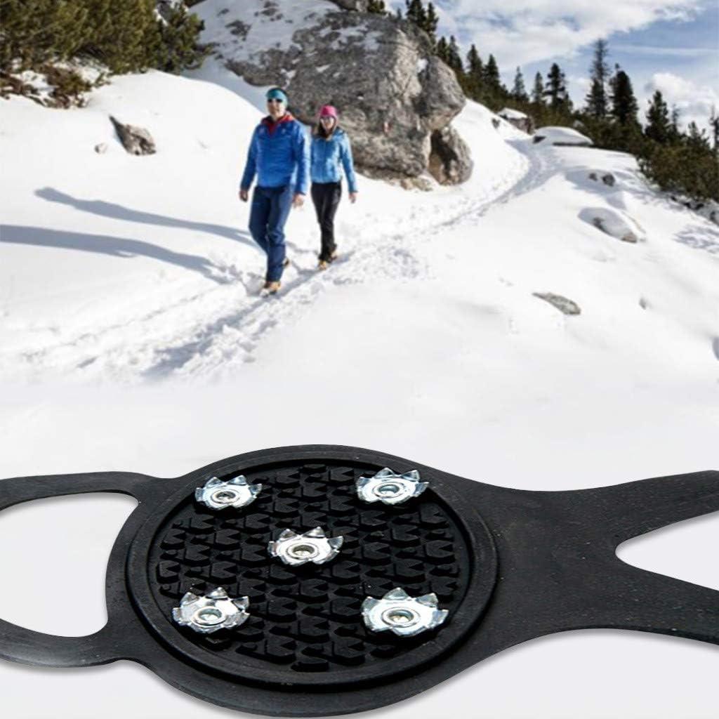 Pingtr Crampones de Dientes Clips de Hielo Antideslizantes para Nieve y Hielo para Hombres y Mujeres Funda de Silicona para Zapatos con 5 Dientes y Garras